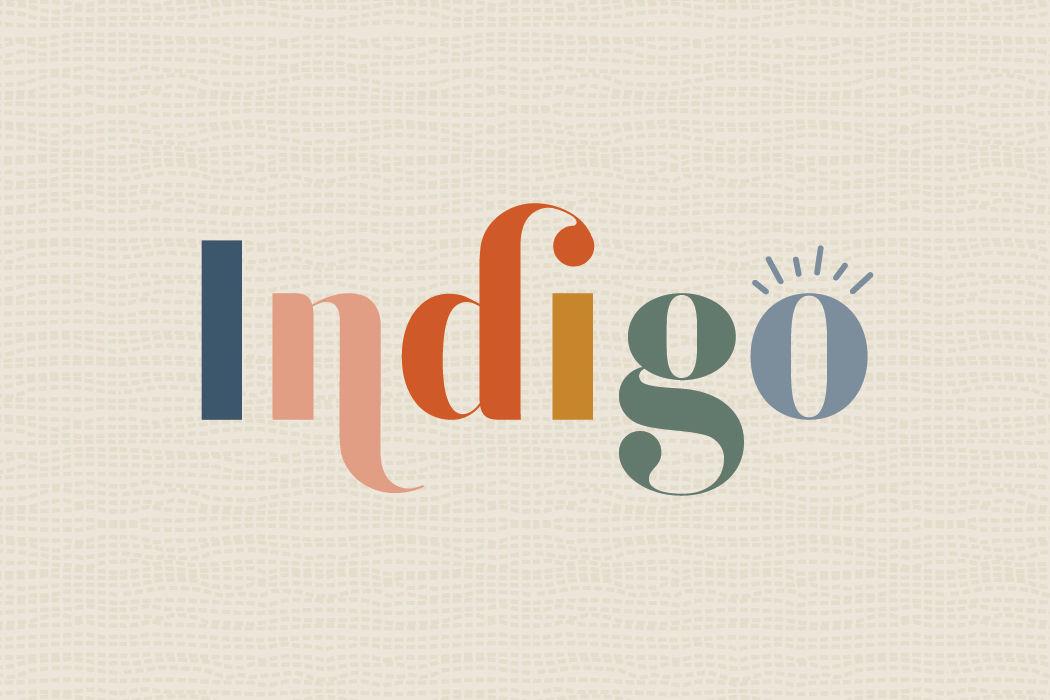 indigo salon brand logo with texture